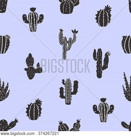 Seamless Pattern With Various, Naive And Abstract Cactus. Texture For Textile, Postcard, Wrapping Pa