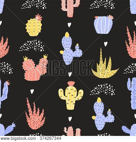 Seamless Pattern With Various, Naive And Abstract Cactus. Colorful Texture For Textile, Postcard, Wr