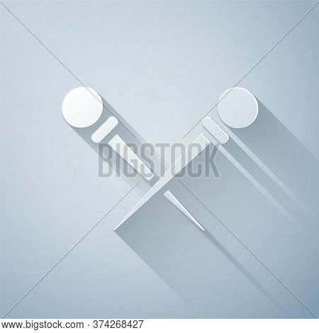 Paper Cut Knitting Needles Icon Isolated On Grey Background. Label For Hand Made, Knitting Or Tailor