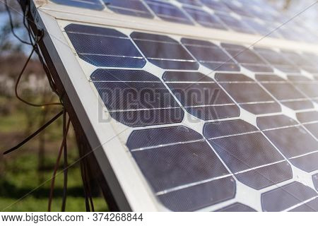 Old Solar Panel Gate House Opening Photovoltaic Electric System For Open Door Home Garden