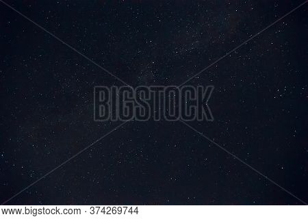 Long Exposure Night Photo. A Lot Of Stars With A Lot Of Constellations. Nebula In Sky. Night Landsca