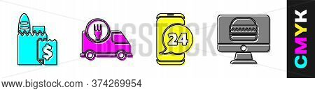 Set Online Ordering And Delivery, Fast Delivery By Car, Food Ordering And Online Ordering And Delive