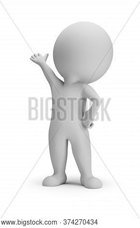 3d Small Person In Presentation Pose. 3d Image. White Background.