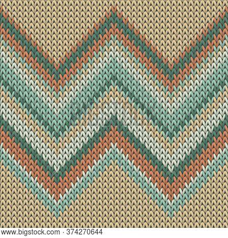 Fairisle Zig Zal Lines Christmas Knit Geometric Seamless Pattern. Pullover Knit Effect Ornament. Cla