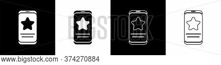 Set Mobile Phone With Review Rating Icon Isolated On Black And White Background. Concept Of Testimon