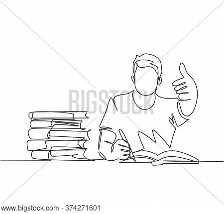 One Line Drawing Of Young Happy Male College Student Studying And Reading Stack Of Books In Library