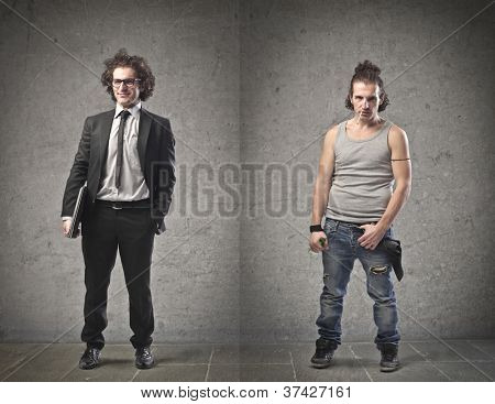 Businessman in contrast with an unemployed