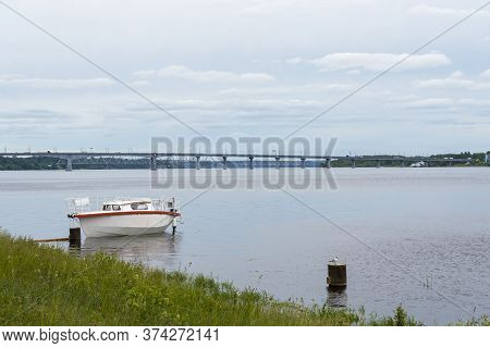 Kostroma Bridge Over The River Volka In The Summer.