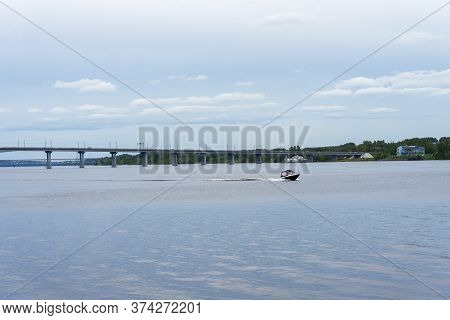 Kostroma Bridge Over The River Volka In The Summer. Concept Of Travel And Tourism.