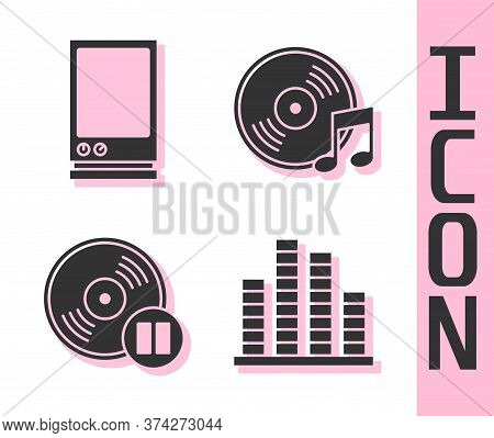 Set Music Equalizer, Voice Assistant, Vinyl Disk And Vinyl Disk Icon. Vector