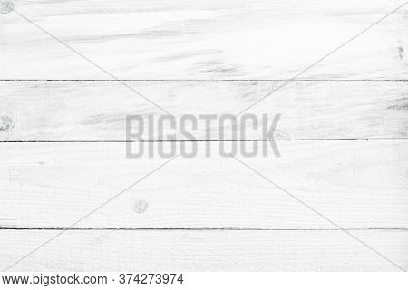 Wood Plank White Texture Background. Wooden Wall All Antique Cracking Furniture Painted Weathered Wh