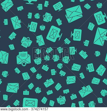Set Speech Bubble With Envelope, Envelope, Delete Envelope And Envelope With Star On Seamless Patter