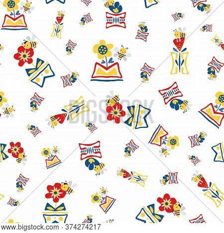 Kawaii Honey Bee With Abstract Daffodil And Poppies In Aztec Motif Vase. Seamless Vector Pattern Bac