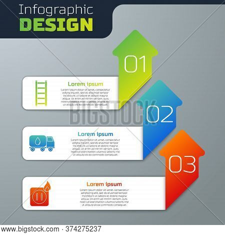 Set Fire Escape, Water Delivery Truck And Electric Wiring Of Socket In Fire. Business Infographic Te