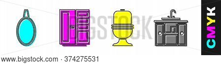 Set Mirror, Wardrobe, Toilet Bowl And Washbasin Cabinet With Tap Icon. Vector