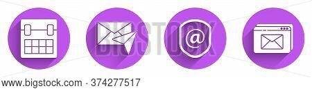 Set Calendar, Envelope, Shield With Mail And E-mail And Website And Envelope Icon With Long Shadow.