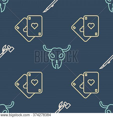 Set Line Native American Indian Smoking Pipe, Playing Cards And Buffalo Skull On Seamless Pattern. V