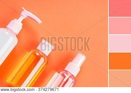 Generic Beauty Products On Orange Coral Background. Color Swatch