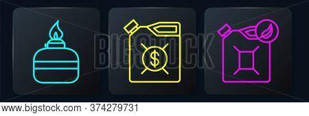 Set Line Alcohol Or Spirit Burner, Bio Fuel Canister And Canister For Motor Machine Oil. Black Squar