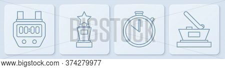Set Line Stopwatch, Stopwatch, Award Cup And Ice Hockey Cup Champion. White Square Button. Vector