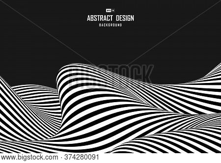 Abstract Black And White Op Art Design Of Distortion Cover Background. Use For Ad, Poster, Cover, Pr