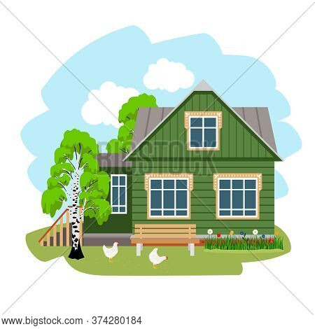 Summer House In Village. Farm In The Countryside, Cartoon Place Of Rest On Nature In Russian Style,