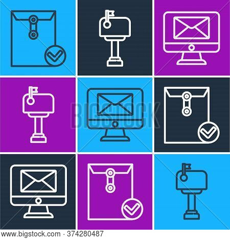 Set Line Envelope And Check Mark, Monitor And Envelope And Mail Box Icon. Vector