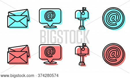 Set Line Mail Box, Envelope, Mail And E-mail On Speech Bubble And E-mail Icon. Vector
