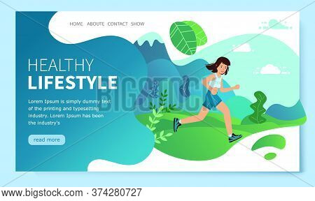Woman Running Marathon. Landing Page. Running Fast With Forest,