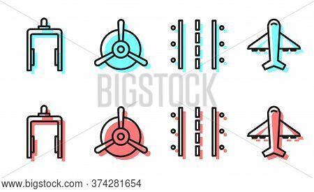 Set Line Airport Runway, Metal Detector In Airport, Plane Propeller And Plane Icon. Vector