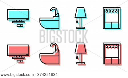 Set Line Table Lamp, Smart Tv, Washbasin With Water Tap And Wardrobe Icon. Vector