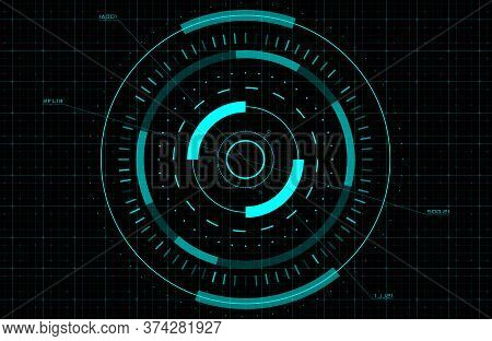 Hud, Gui, Fui Circle Target. Sci-fi Round Head-up Display For Futuristic User Interface. Tech And Sc