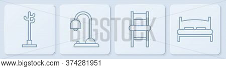 Set Line Coat Stand, Chair, Table Lamp And Big Bed. White Square Button. Vector