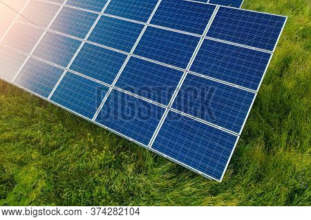 Top View Of Solar Plant Station. Sun Power Is Big Energy For Produce Electric. This Is Clean Power A