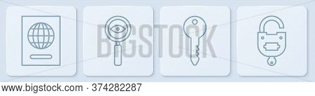 Set Line Passport, Key, Magnifying Glass Search And Lock And Key. White Square Button. Vector