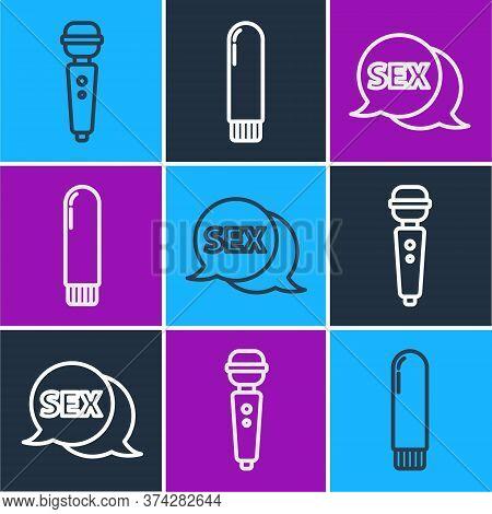 Set Line Dildo Vibrator, Speech Bubble With Sex And Dildo Vibrator Icon. Vector