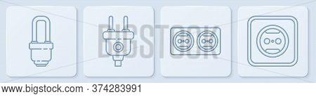 Set Line Led Light Bulb, Electrical Outlet, Electric Plug And Electrical Outlet. White Square Button