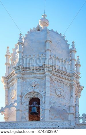 Belfry In Gothic Style . Architectural Details Of Bell Tower . Jeronimos Monastery