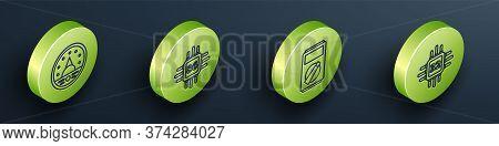 Set Isometric Ampere Meter, Multimeter, Voltmeter, Processor With Microcircuits Cpu, Multimeter And