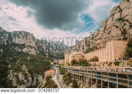 Santa Maria De Montserrat. Benedictine Abbey In Mountain Of Montserrat, In Monistrol De Montserrat,
