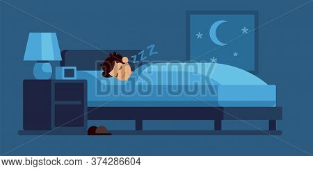 Man Sleeping. Cartoon Guy Lies On Bed Under Duvet At Night, Comfortable Sleep Time At Home, Vector F