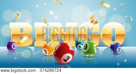 Bingo. Realistic Lottery Balls And Golden Confetti Poster With Text, Lucky Big Win. Lotto Game Inter