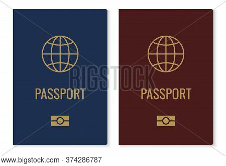 Passport Covers With Map. Realistic Red And Blue International Identification Document, Citizen Offi