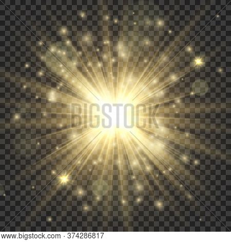 Gold Glowing Star. Abstract Stylish Bright Light Effect, Golden Shiny Luminous Dust And Glares, Blur