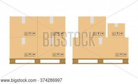 Boxes Pallet. Beige Cardboard Closed Box Stack With Fragile Sign On Wooden Pallets, Packaging Cargo