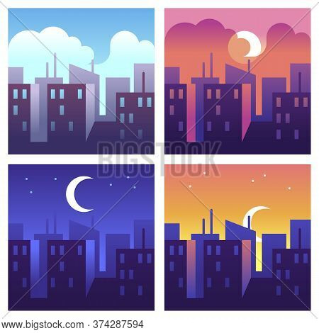 City Day Times. Morning And Noon, Evening And Night Cityscape, Buildings And Skyscrapers At Differen