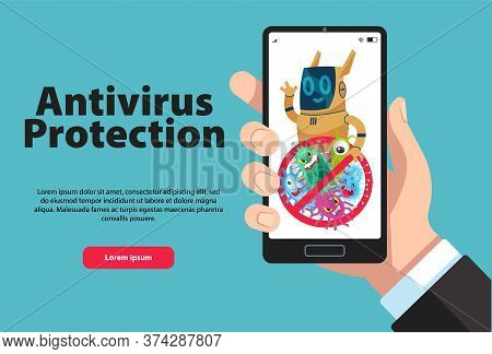 Online Personal Phone Data Protection. Firewall Or Antivirus Software For Phone Data Safety. Hand Ho