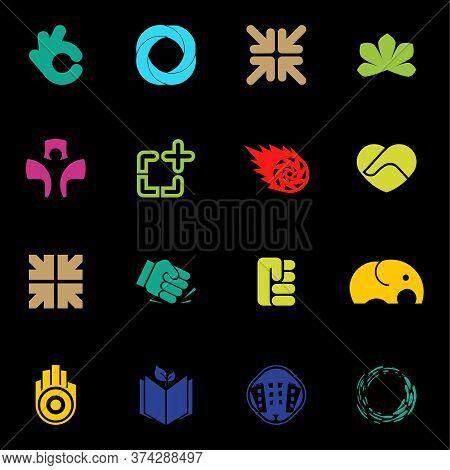 Abstract Logos Set. Modern Vector Logo Collection. Unusual Logos Element. Logo Design.