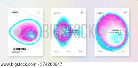 Space Poster. Galactic Science Banner Set With Planets, Sun, Deep Fluid Light. 3d Magic Dreamer Unic