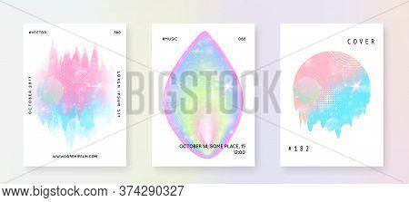 Unicorn Flyer. Kawaii Rainbow Hologram. Princess Holographic Gradient. Bright Universe Banner. Fanta